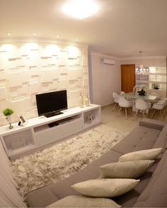 43 Amazing TV Wall Decor Ideas for Living Room Home Living Room, Small Living Rooms, Living Room Designs, Living Room Decor, Style At Home, Tv Wanddekor, Tv Wall Decor, Small Apartments, Design Case