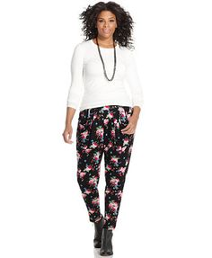 ING Plus Size Floral-Print Soft Pants