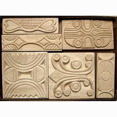 Oshiwa Carved Wood Printing Stamp Set, Tribal Designs, Item 32-23. $112,00, via Etsy.