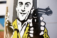 Travis, Taxi driver. Barrica pintada a mano.