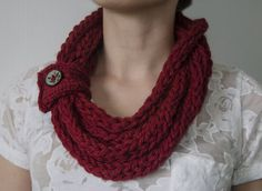 Finger knitted ready to ship cowl infinity scarf by KnittedRoots