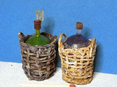 How to make miniature wine bottles in baskets - good method to do traditional Chianti bottles