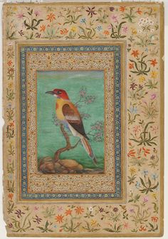 'Bee-eater' , miniature on the verso of a leaf from the Kevorkian album, 1800s, India, Mughal dynasty