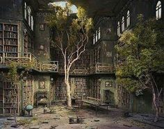 Abandoned library in a mansion