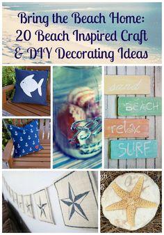 Bring the Beach Home ~ 20 Beach Inspired Craft & Decorating Ideas #BareFeetontheBeach - Bare Feet on the Dashboard #beach #craft #diy #decorating