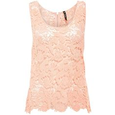 Miso Crochet Lace Vest Top Peach Womens ❤ liked on Polyvore