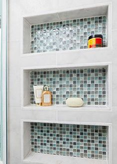 Built in Shower shelves Beach Bath - eclectic - bathroom - other metro - In Detail Interiors Upstairs Bathrooms, Small Bathroom, Master Bathroom, Downstairs Bathroom, Shower Shelves, Bathroom Shelves, Bathroom Wall, Bathroom Storage, Recessed Shower Shelf