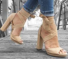 Wrap Around Platform Chunky Heels