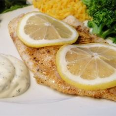 """Hudson's Baked Tilapia with Dill Sauce I """"WONDERFUL! A great spring/summer recipe. The dill sauce makes it so refreshing. Very delicious! Tilapia Recipes, Fish Recipes, Seafood Recipes, Cooking Recipes, Healthy Recipes, Dinner Recipes, What's Cooking, Salmon Recipes, Healthy Eats"""