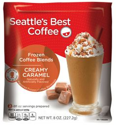 Seattle's Best Coffee Hits the Freezer Aisle with a Frozen Blended Coffee Drink: Coffee Chiller, Creamy Caramel, Very Vanilla, and Mega Mocha.