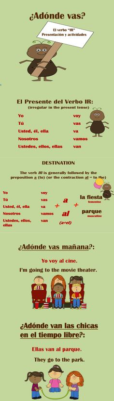 El verbo IR interactive presentation. Explains irregular conjugation and uses with opportunities throughout for student practice. ✿ More inspiration at http://espanolautomatico.com ✿ Spanish Learning/ Teaching Spanish / Spanish Language / Spanish vocabulary / Spoken Spanish / Free Spanish Podcast / Español Automatico ✿ Share it with people who are serious about learning Spanish!