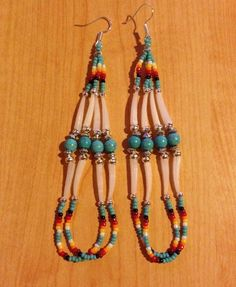 Navajo Native American Beaded Turquoise Green Dentalium Shell Dangle Earrings Shell Jewelry, Seed Bead Jewelry, Shell Earrings, Seed Bead Earrings, Fringe Earrings, Beaded Earrings, Beaded Jewelry, Cross Earrings, Diy Jewelry