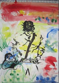 MY ART: guitar boy | landscape modern painting