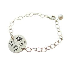 You Are My Sunshine Bracelet - Grandmothers Bracelet - Mothers Bracelet - Charm Bracelet - Sterling Silver - Hip Mom Jewelry