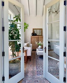 French doors are perfect for creating an inviting entrance to a rYou can find Modern bedroom and more on our website.French doors are perfe. Boudoir, Spanish Home Decor, Amber Interiors, Inspired Homes, Living Room Interior, Modern Bedroom, Master Bedroom, French Doors, Home Remodeling