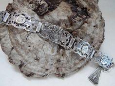 Paris souvenir filigree charm bracelet silver by OnStoneAvenue