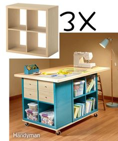 DIY Craft Room Table With Ikea Furniture Under Budget - New ideas Craft Room Storage, Room Organization, Box Storage, Storage Ideas, Vasos Vintage, Craft Room Tables, Craft Desk, Small Craft Rooms, Diy Rangement