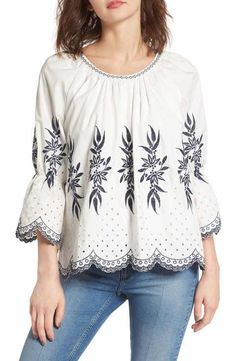 MOON RIVER Embroidered Scalloped Hem Top