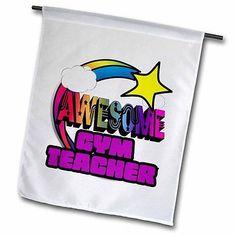 Shooting Star Rainbow Awesome Gym Teacher Garden Flag 18x27in Outdoor Flag, New