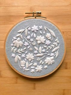 Your place to buy and sell all things handmade embroidery hoop Hand Embroidery Flowers, Hand Work Embroidery, Modern Embroidery, Embroidery Hoop Art, Crewel Embroidery, Hand Embroidery Patterns, White Embroidery, Ribbon Embroidery, Cross Stitch Embroidery