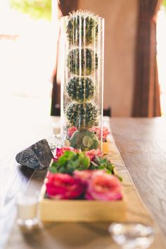 Choose long cylindrical vases and fill them with barrel cacti to give your reception space a cool, southwestern look.