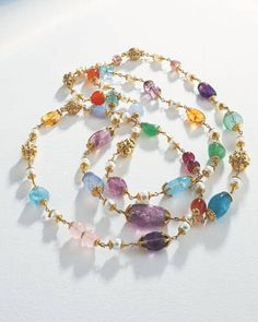 1940s Multi-Baroque necklaces with gemstones and pearls set with gold beads and caps. Photographer: David Behl - ELLEDecor.com