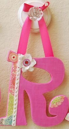 Custom Hanging Letters- Personalized Name - Nursery Wall Letters- Baby Kids- Painted Wooden Wall Art-any color and theme. $15.75, via Etsy.