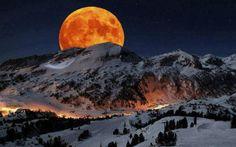 Super Moon rising above Sierra Nevada Sequoia National Park California.