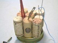 pin cushion - wine corks