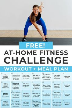Start the new year off right with this FREE guided workout plan and meal plan! You get 4 weeks of dinners and workouts pre-planned, so all you have to do is press 'play' and follow along! 14 Day Workouts, 4 Week Workout Plan, Shred Workout, Weekly Workout Plans, Workout Plan For Beginners, Workout Days, Weight Loss Workout Plan, Workout Challenge, Body Workouts