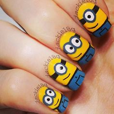Minion nails. Follow in instagram @Nicole Felix @jackiel8g