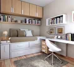 row of cabinets at ceiling, then book shelf underneath that, then bed with drawers underneath