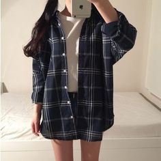 Buy Karnel Plaid Shirt at YesStyle.com! Quality products at remarkable prices. FREE Worldwide Shipping available! Flannel Shirt Outfit, Plaid Outfits, Cute Casual Outfits, Simple Outfits, Fashion Outfits, Oversized Plaid Shirts, Aesthetic Clothes, Korean Fashion, Southern Shirt