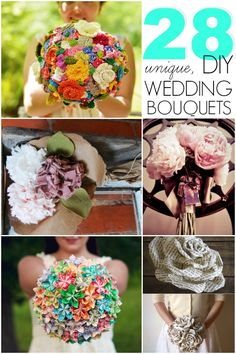 You can make a memorable wedding bouquet out of paper, t-shirts, jewelry, pin wheels, balloons... the list goes on and on! You have to check these out!