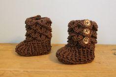 Baby Boy Booties Brown Crochet Crocodile Baby by makinitmama