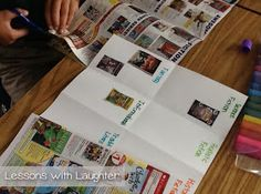 Genre study.  Cut apart old book orders and have students work in groups to sort books based on their genre.