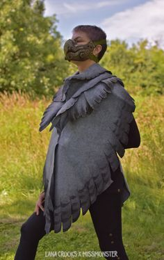 http://missmonster.myshopify.com/ Collaborative wearable art by Lana Crooks and Melita Curphy. -Hand-dyed heather grey spring weight wool felt wing wrap shawl. Each piece is handmade (patterned, ombre dyed and assembled by Lana and Melita). -Each...