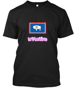 Wyoming Flag Pink Flower Design Black T-Shirt Front - This is the perfect gift for someone who loves Wyoming. Thank you for visiting my page (Related terms: I Heart Wyoming,Wyoming,Wyoming,Wyoming Travel,I Love My Country,Wyoming Flag, Wyoming Map,Wyoming L #Wyoming, #Wyomingshirts...)