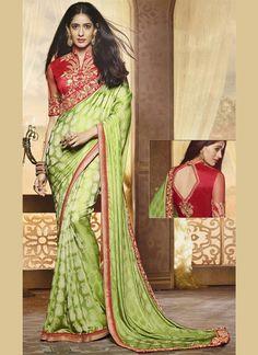 Voguish Green Resham Work Art Silk Designer Traditional Saree