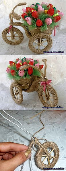 Велосипед-ваза. Поделка из шпагата и проволоки,