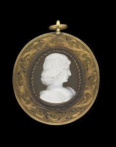 Cameo; onyx; bust to right of Giangaleazzo Maria Sforza, Duke of Milan (died 1494); within oval gold frame decorated with floral scrolls and suspension loop at top. Engraved in Italy 15thC.