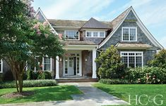 Tour a fabulous Water Mill home, decorating your living room with Studio McGee and more on Design Chic today! Beautiful Buildings, Beautiful Homes, Cottage Design, House Design, Bungalow, Nantucket Style Homes, Shingle Style Homes, Shingle Style Architecture, Cottage Exterior