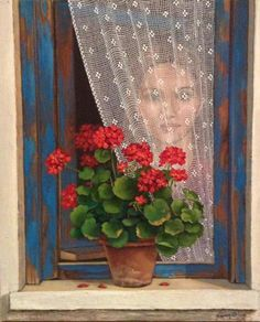Behind the lace curtain // Turkish artist Fusun Urkun Beautiful Paintings Of Nature, Mural Art, Wall Art, Red Geraniums, Creation Photo, Turkish Art, Most Beautiful Wallpaper, Pintura Country, Plant Illustration