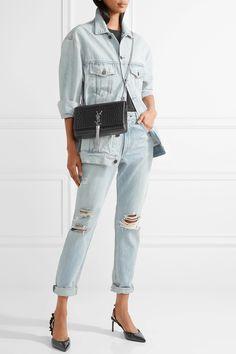 Saint Laurent | Monogramme Kate medium croc-effect leather shoulder bag | NET-A-PORTER.COM
