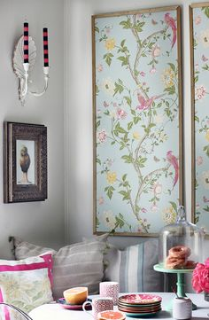 Home Decor Diy Make wallpaper panels from wallpaper mdf trim and paint!Home Decor Diy Make wallpaper panels from wallpaper mdf trim and paint! Framed Wallpaper, Wallpaper Panels, Wallpaper Paste, Flock Wallpaper, Wallpaper Ideas, Unique Wallpaper, Interior Wallpaper, Chinoiserie Wallpaper, Chinoiserie Chic