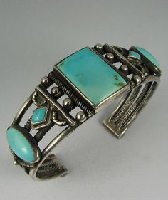 Exquisite Navajo 5 Turquoise Silver Wire Bracelet
