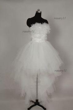 Fantasy Romantic Strapless Tulle sleeveless Short wedding dress