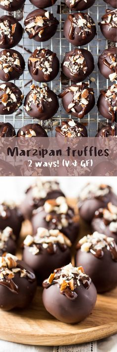 These #marzipan #truffles are #easy to make and come in two varieties, including #refinedsugarfree one. They're naturally #vegan and #glutenfree too! #recipe #recipes #chocolate #almonds #amaretto #truffle #vegetarian #treat #dessert