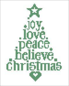 BOGO FREE! Merry Christmas - Christmas Tree Joy Love Believe Peace Cross Stitch Pattern - pdf pattern instant download #43