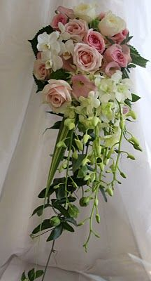 The Flower Magician: Pale Pink and Ivory Cascading Wedding Bouquet